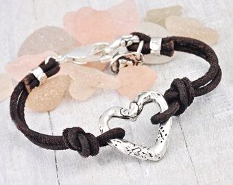 Open Heart Bracelet- Heart Leather Bracelet - Romantic Bracelet  - Cowgirl Jewelry- B318