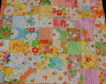 Baby Quilt Toddler Quilt. Flowers and Butterflies. Pink, White, Yellow, Orange, Blue, Green.
