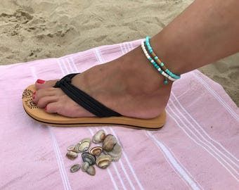 White ankle strap with turquoise and pendant