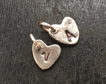 Custom Heart / Initial Charm / Personal Charm / Fine Silver / Silver Letter