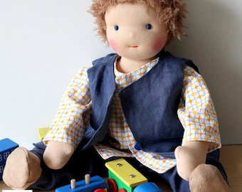 Customed Waldorf boy doll, boy rag doll ( with wool hair )