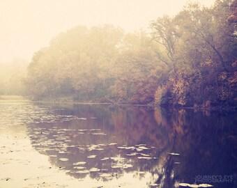 Fall Reflection - Dreamy landscape photography, nature photograph, neutral color, autumn decor, fine art print