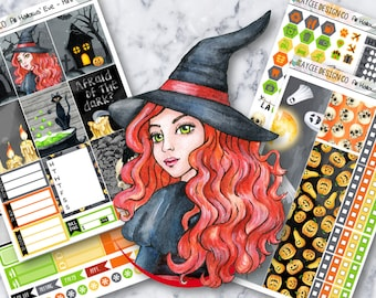 MINI Weekly Kit / All Hallows' Eve / Planner Stickers / Fits Erin Condren Vertical & MAMBI / Hand Drawn / Halloween