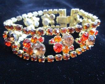 Vintage 60s Tangerine Bracelet Gold Tone  Orange Rhinestone 1960s Bracelet