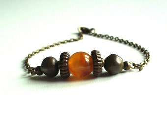 Bracelet vintage rustic, bronze antique and orange marble