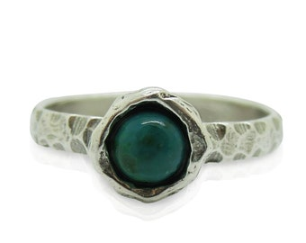 Eilat stone Criscola ring set in hammered sterling silver, stacking ring
