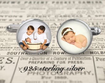 Solid Sterling Silver 925 Cufflinks, Custom Photo Cufflinks, Mens Accessories, Gift For Dad Cufflinks, Father
