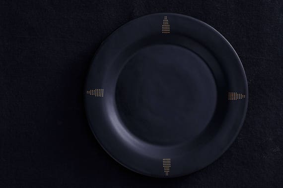 Black Porcelain Dinner Plate With 22k Gold Art Deco Illustrations//Matte Black And Gold Dishes For Your Modern Minimalist Home by Etsy