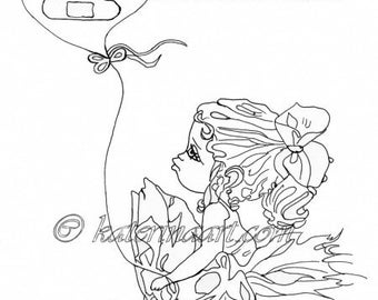 INSTANT DOWNLOAD Digi Stamps Big Eye Head Dolls heart stitches balloon  Girl Digi By Katerina Art