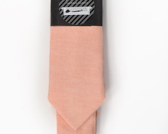 Wedding Mens Tie Skinny Necktie Laid-Back necktie- Coral chambray
