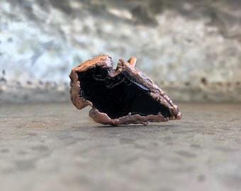 electroformed copper obsidian arrowhead ring » handmade » statement ring » size 10 3/4 » gift for him » men ring » dragon glass