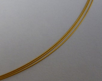 Choker 3-row stainless steel yellow gold plated filigree