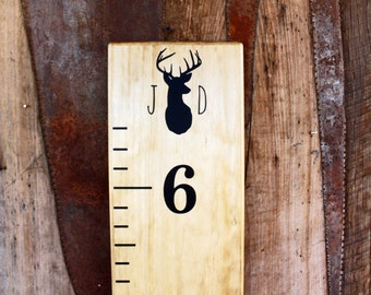 Growth Chart Ruler Add-On-- Monogram Deer Vinyl Decal --Top Header
