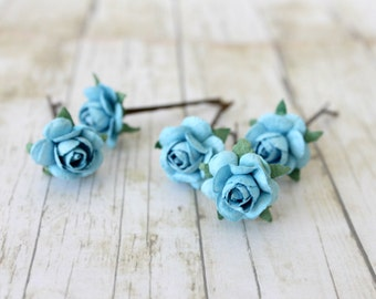 Blue Rose Hair Pins. Gold rose hair clips, Whimsical, something blue, Weddings. Hair Accessories, summer,  floral, sky blue, gold wedding