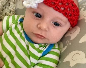 Baby crochet headband with flower