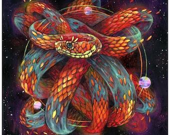 "Snake Art Print - Surreal Art - Wall Art - ""Hot Coconut Tamale"" by Black Ink Art"