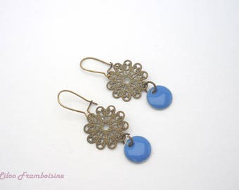 Blue sequin and bronze earrings