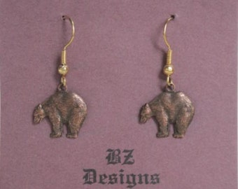Bear Earrings - Up North Earrings, Northwoods Earrings- Choose one:  Bear, Evergreen tree, Cabin - BZ Designs Original