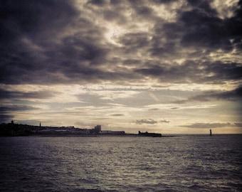 Paysage photo miniature - argent coucher de soleil sur Liverpool docks