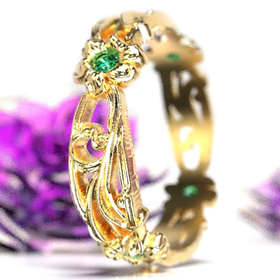 Unique Wedding Ring, Emerald with Gold Art Nouveau Floral Design  in 10K 14K 18K or Palladium, Custom Size Cr-5018