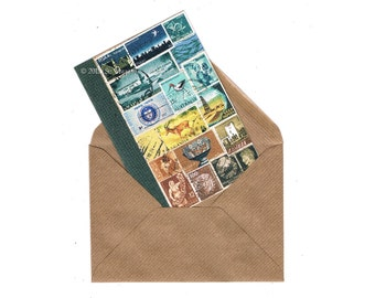 Mail Art Landscape Notecard   Eclectic Bon Voyage Travel Note Card   Boho Blue Brown Postage Stamp Collage Art Print, blank A6 greeting card