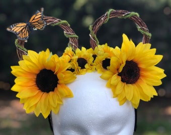 Sunflower Crown Mouse Ears with Fairy Lights