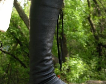 "Black Matte Medieval Men's High Leather Boots ""Forest"" in ONE size"