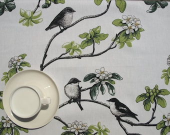 Tablecloth white apple blossom flowers black birds , also table runner , napkins , curtains , pillows available, great GIFT