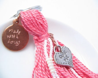 Cutie Pie Pink Beaded Tassel Keychain or Purse Charm