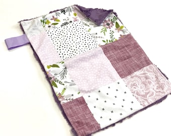 Lavender Purple Sprigs and Bloom Floral Baby Girl MINKY Lovey Blanket, MINI Minky Baby Blanket, Taggie Blanket, Flowers and Lace Blanket
