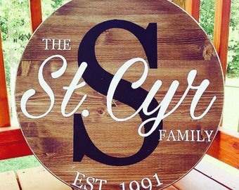 Family established, home decor, family sign, farmhouse sign, rustic decor, wedding gift, anniversary gift