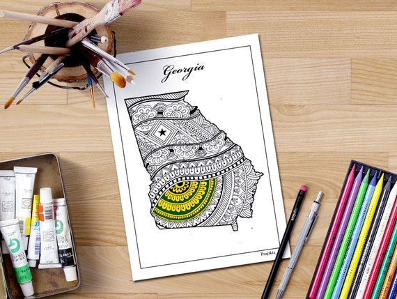 Coloring Pages United States : Georgia state map decorative maps usa adult coloring united
