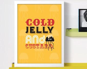 Food Glorious Food Print - House Warming Gift - Kitchen Gift - Kitchen Print - Jelly Print - Quirky Framed Kitchen Print