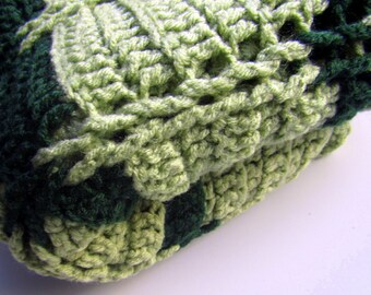 Crochet Baby Blanket for Crib or Bassinet in a Hunter green and Sage color Ready to ship