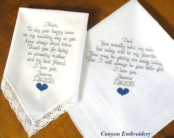 Embroidered Wedding Handkerchiefs, Parents Gift, Mother & father of the bride, Personalized, Set of Two, By Canyon Embroidery