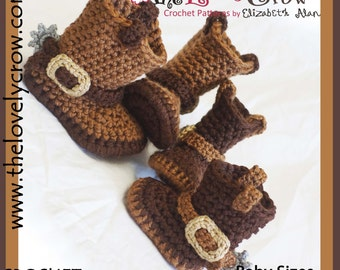 Cowboy Boots Crochet Pattern BABY Sizes