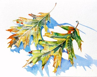 Leaves, watercolor painting original art print // trees, nature, watercolor painting, Autumn, still life, watercolor art, Fall foliage