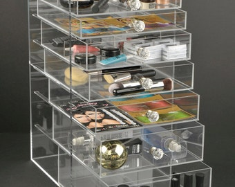 The GlamoureBox® Acrylic Cosmetic Cube Organizer Makeup Case 7-Drawer (A7R-K)