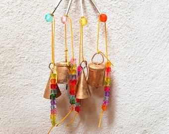 Door Chime Windchime Small Bells Door hanger glass bead Vintage Retro Boho Bohemian Tiny Cute color handmade Indian cow bell doorbell silver