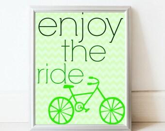 Enjoy the Ride art print in green//Printable art//kids room decor//bicycle art