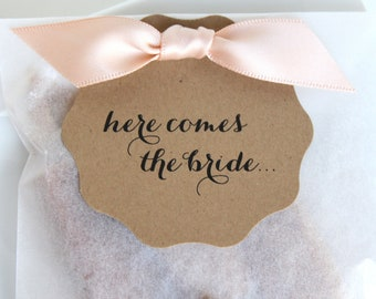 Here Comes the Bride Shower Favors - Fleur de Sel Caramels in Eco Friendly White Glassine Envelopes - 25 Guests