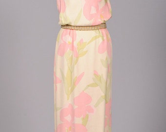 Stunning Vintage 1970s Bill Blass Pastel Floral Silk Crepe Gown