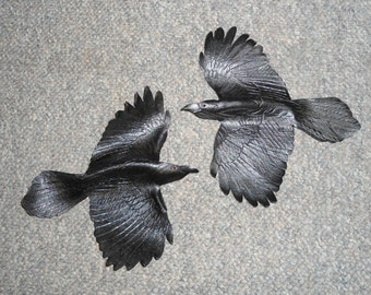 Leather bird - raven wall hanging - 15-16 inch wingspan - available now