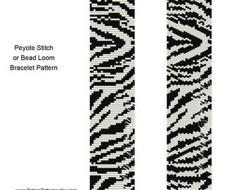 Zebra Stripes Peyote Stitch Bracelet Pattern and Zebra Stripes Bead Loom Bracelet Pattern