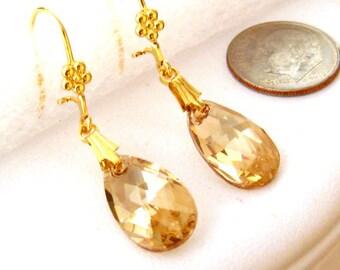 Gold Crystal Earrings: Swarovski Gold Shadow Crystal Earrings, Bridesmaids Jewelry, Bridal Earrings, Wedding Jewelry, Bridesmaids Gift