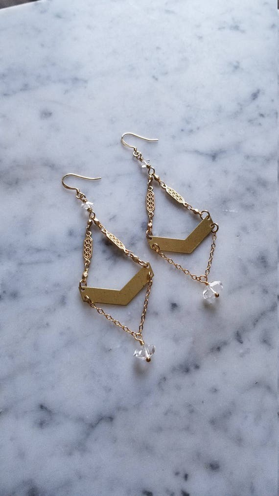 Herkimer diamond accented brass with art deco chain
