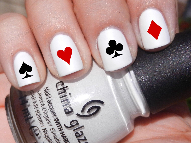 Set of 52 Poker Symbol Card Designs Vinyl Nail Decal Stickers