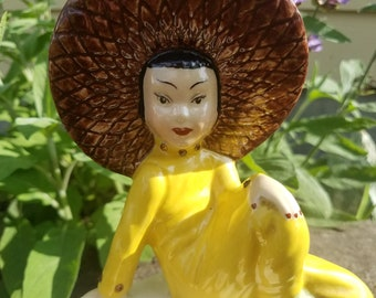 Pretty Chinese Girl Ceramic Vintage Planter Vase