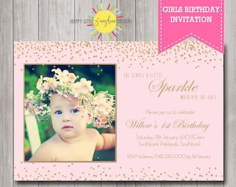 Custom Printable Girl Birthday Invitation Any Age 1st Birthday She Leaves a Little Sparkle Gold Confetti