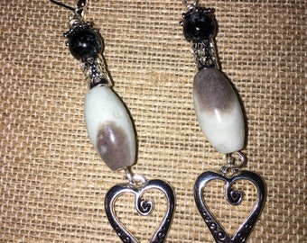 Gemstone and heart shape silver earrings